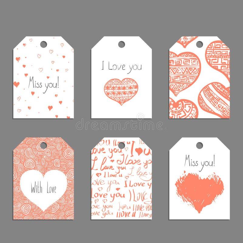 Etiquetas de la tarjeta del día de San Valentín del vector stock de ilustración