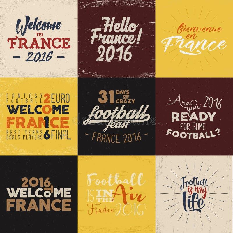 Etiquetas de la tipografía del fútbol de Francia Europa, 2016 capas del fútbol, logotipo del torneo Campeonato, letras de la mano ilustración del vector