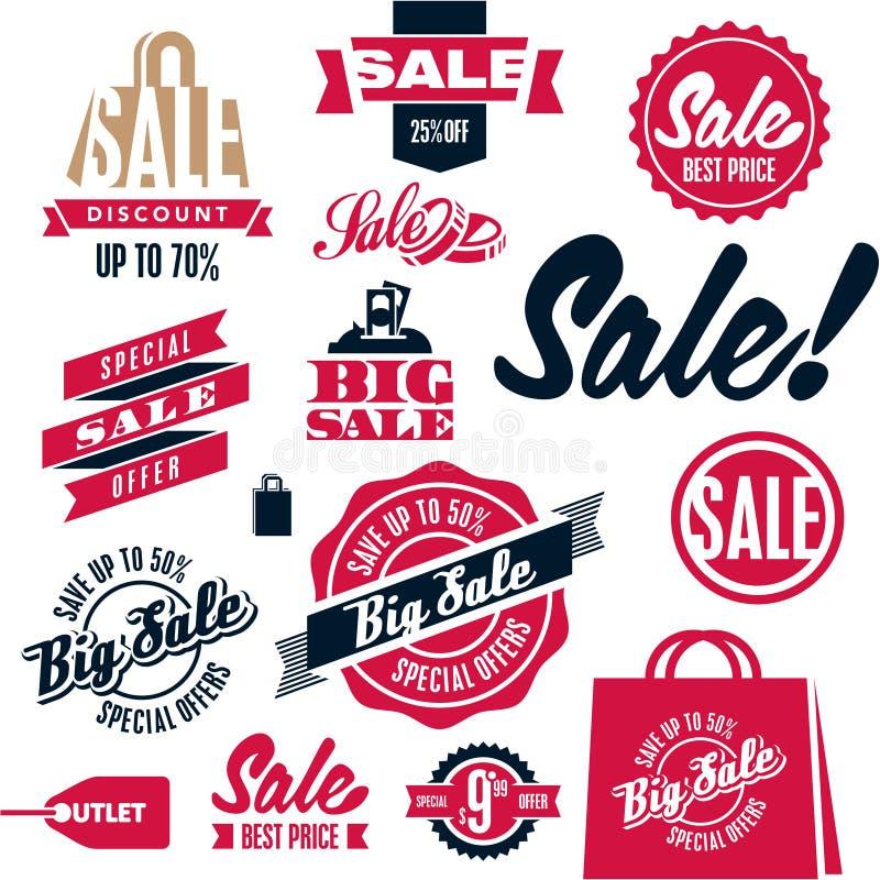 Etiquetas de la venta Banderas de la papiroflexia de la venta fijadas Compras libre illustration
