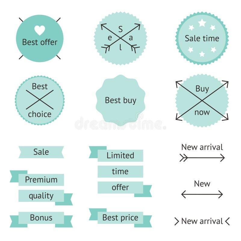 Etiquetas de la venta de la menta stock de ilustración