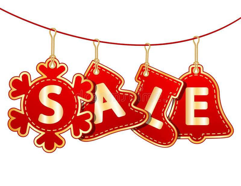 Etiquetas de la venta de la Navidad ilustración del vector