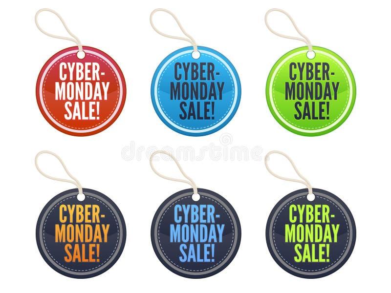 Etiquetas de la venta de lunes del Cyber ilustración del vector