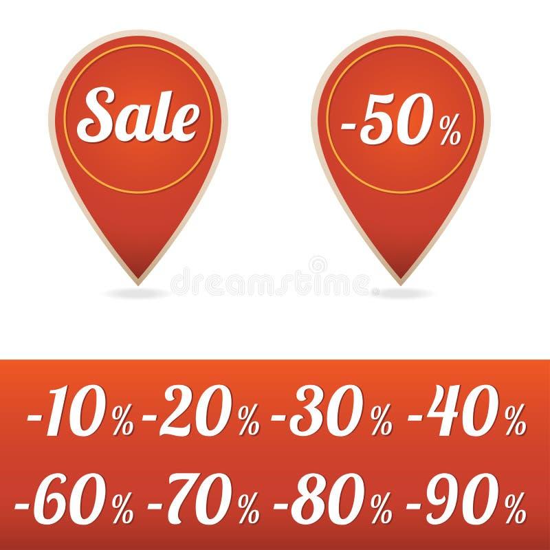 Etiquetas de la venta en rojo ilustración del vector