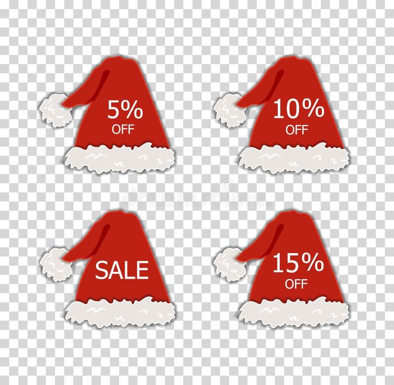 Etiquetas de la venta de la Navidad del vector, diversos descuentos, Papá Noel y sombreros rojos del duende, elementos decorativo libre illustration