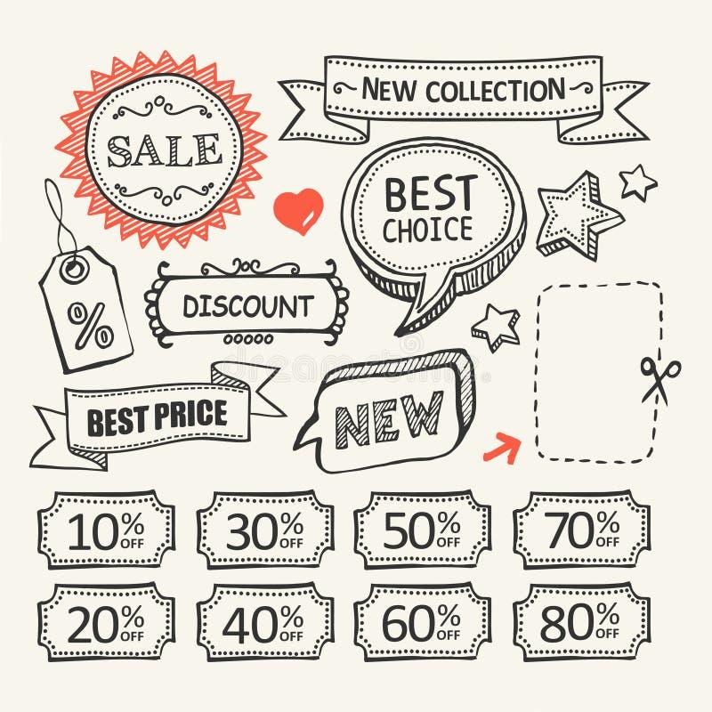 Etiquetas de la venta Sistema que hace compras ilustración del vector