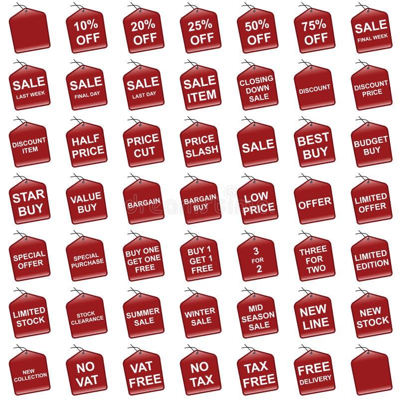 Etiquetas de la venta y de la oferta stock de ilustración
