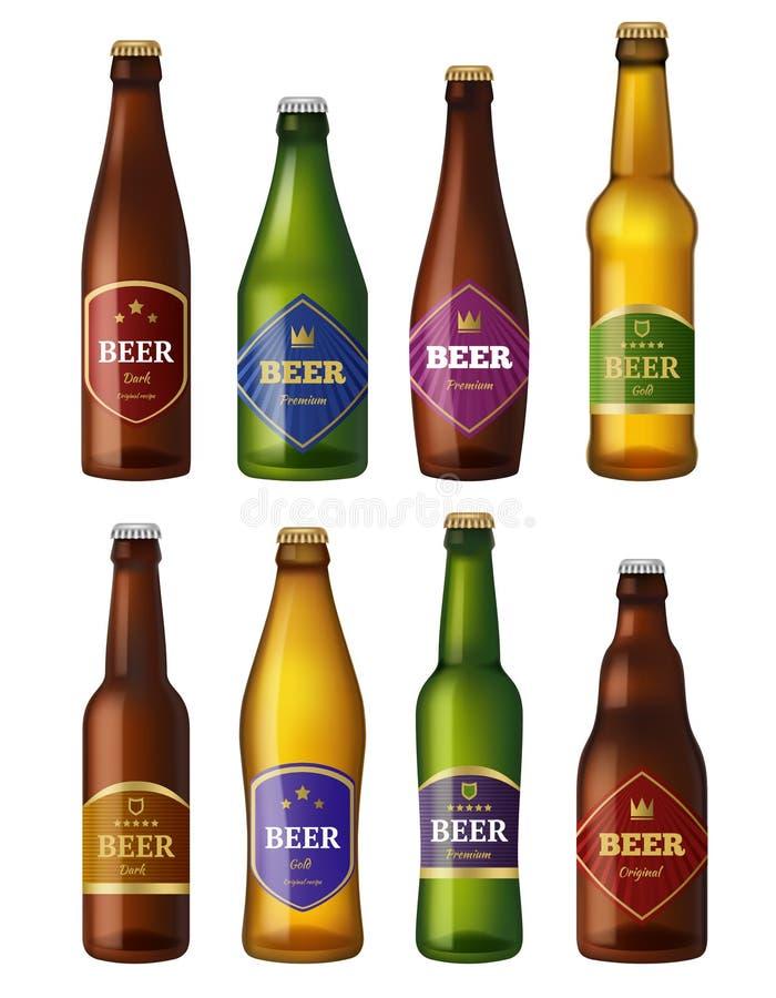 Etiquetas de las botellas de cerveza Los buques fríos de los envases de bebidas del alcohol badges proyectos de diseño Ejemplos d ilustración del vector