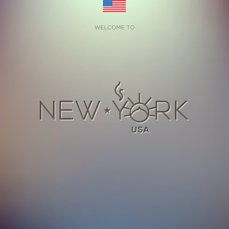 Etiquetas de las ciudades del mundo - Nueva York. stock de ilustración