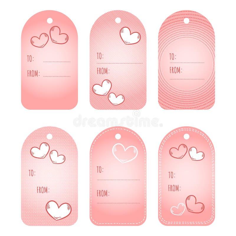 Etiquetas de las etiquetas del regalo Sistema imprimible de las etiquetas de Valentine Day Amor, coraz?n, etiquetas rosadas linda ilustración del vector