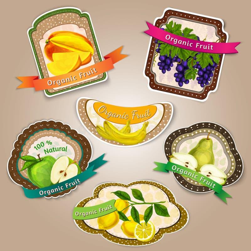 Etiquetas de las frutas frescas stock de ilustración