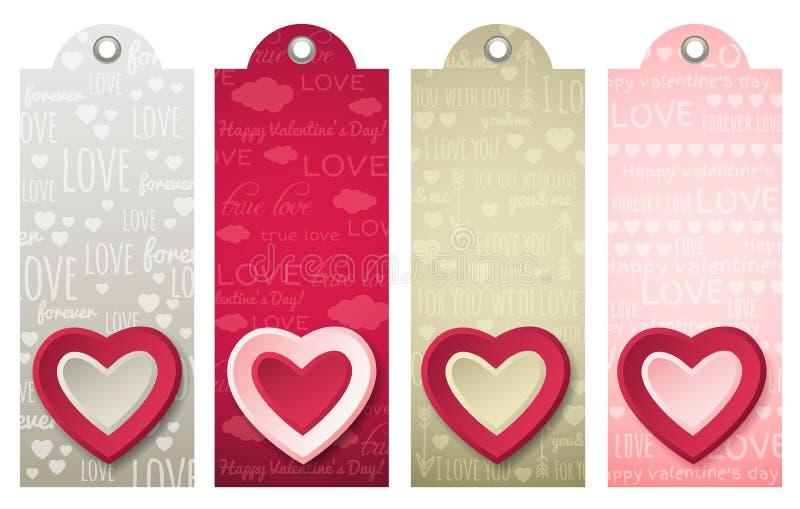 Etiquetas de las tarjetas del día de San Valentín con los corazones decorativos, vector libre illustration