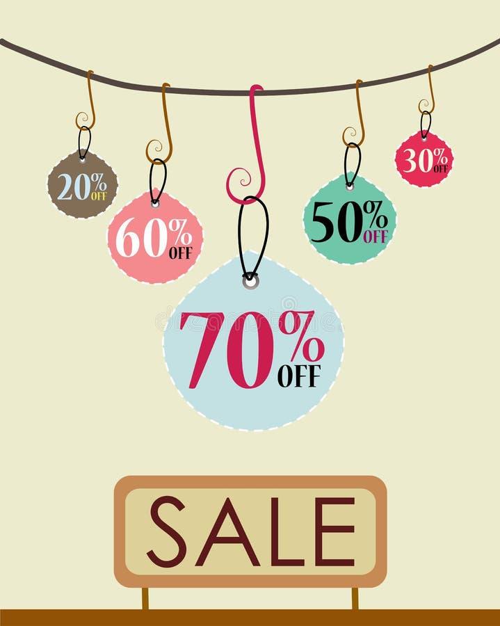 Etiquetas de las ventas stock de ilustración
