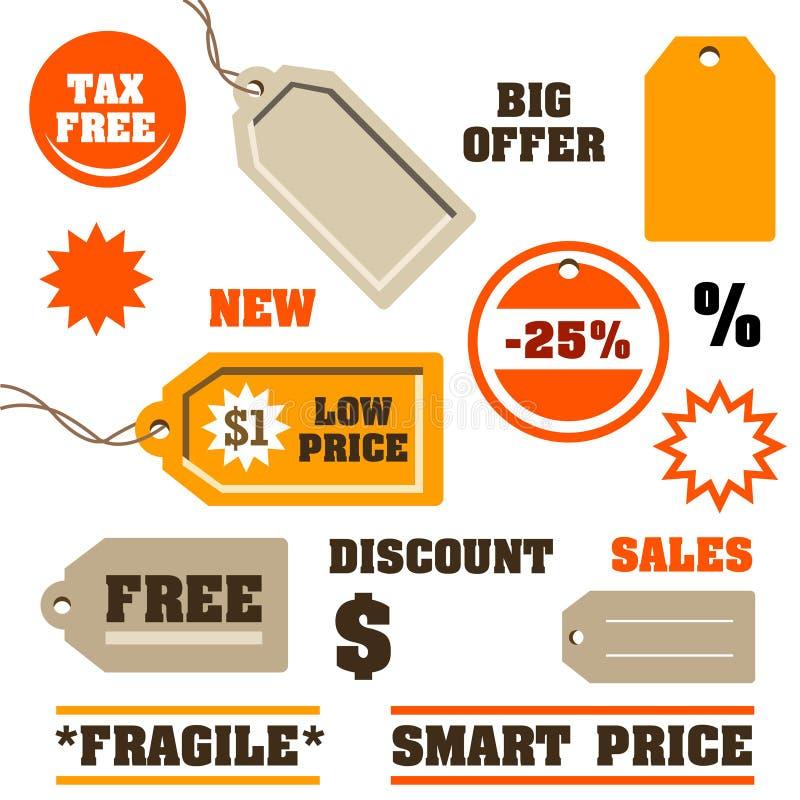 Etiquetas de las ventas ilustración del vector
