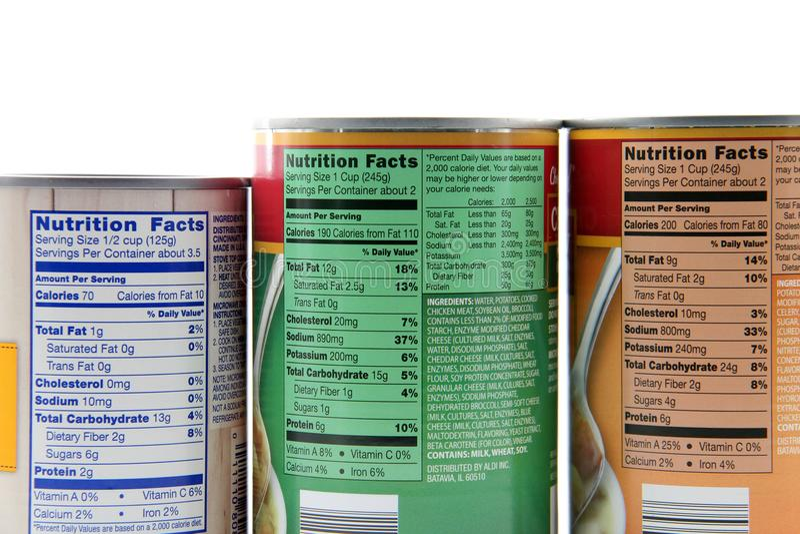 Etiquetas de los hechos de la nutrición imagen de archivo