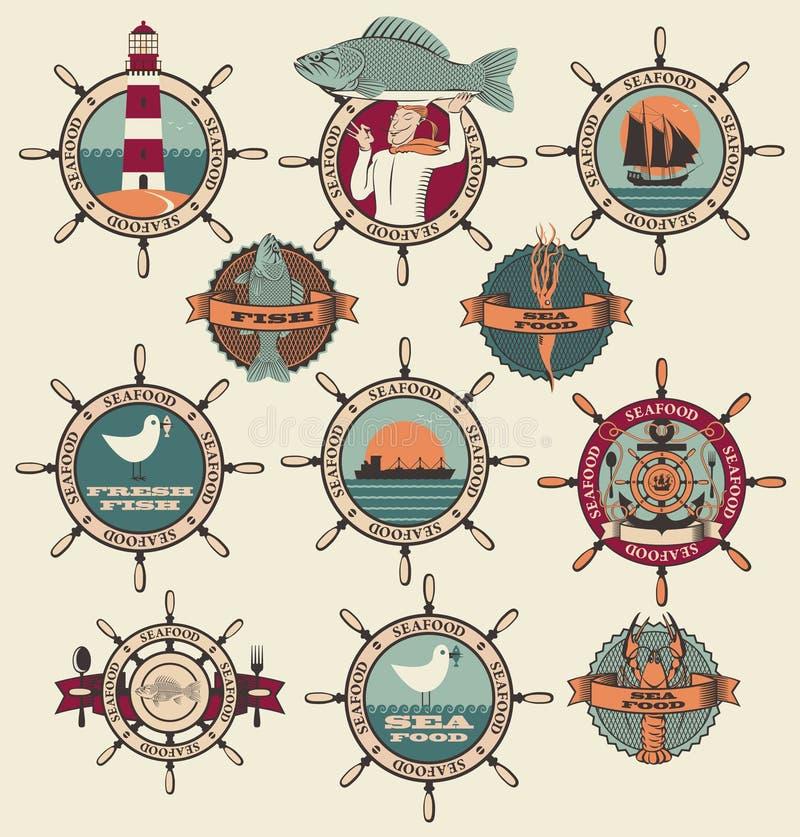 Etiquetas de los mariscos stock de ilustración