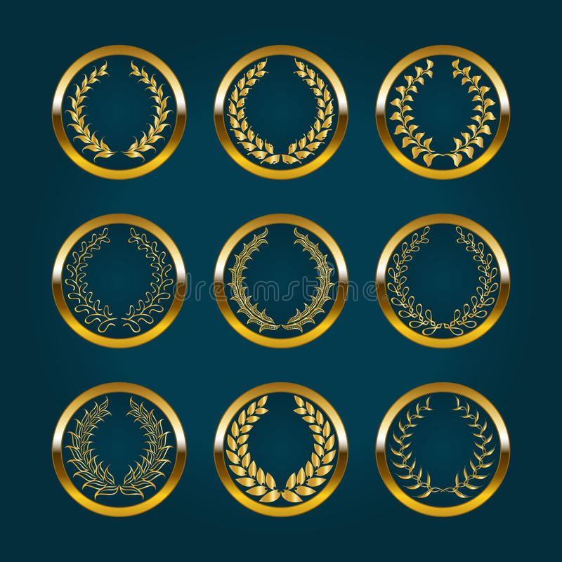 Etiquetas de lujo del oro con la guirnalda del laurel stock de ilustración