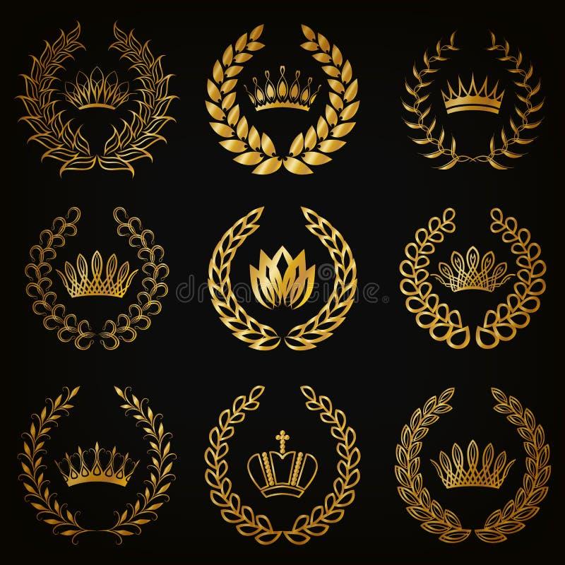 Etiquetas de lujo del oro con la guirnalda del laurel ilustración del vector