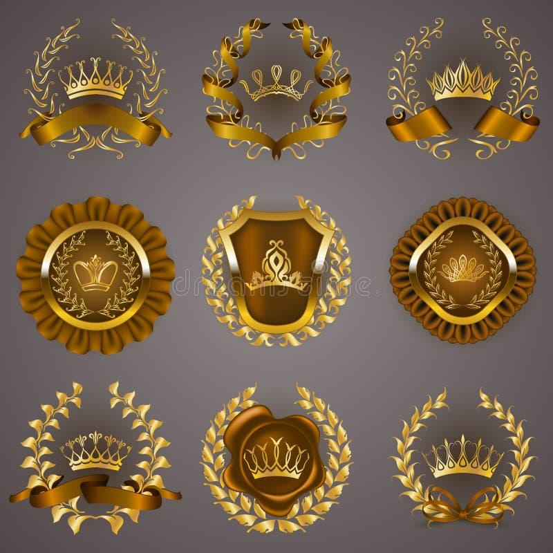 Etiquetas de lujo del oro con la guirnalda del laurel libre illustration
