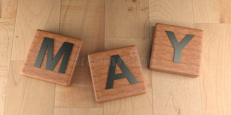 Etiquetas de madeira de maio - rendição 3D ilustração stock
