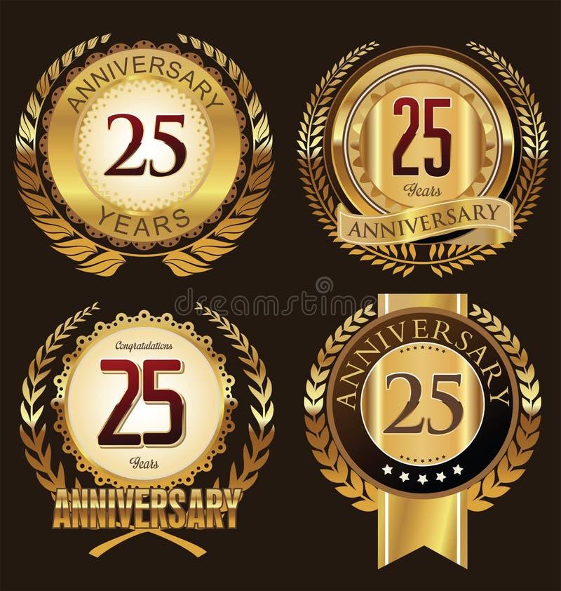 Etiquetas de oro del aniversario 25 años ilustración del vector