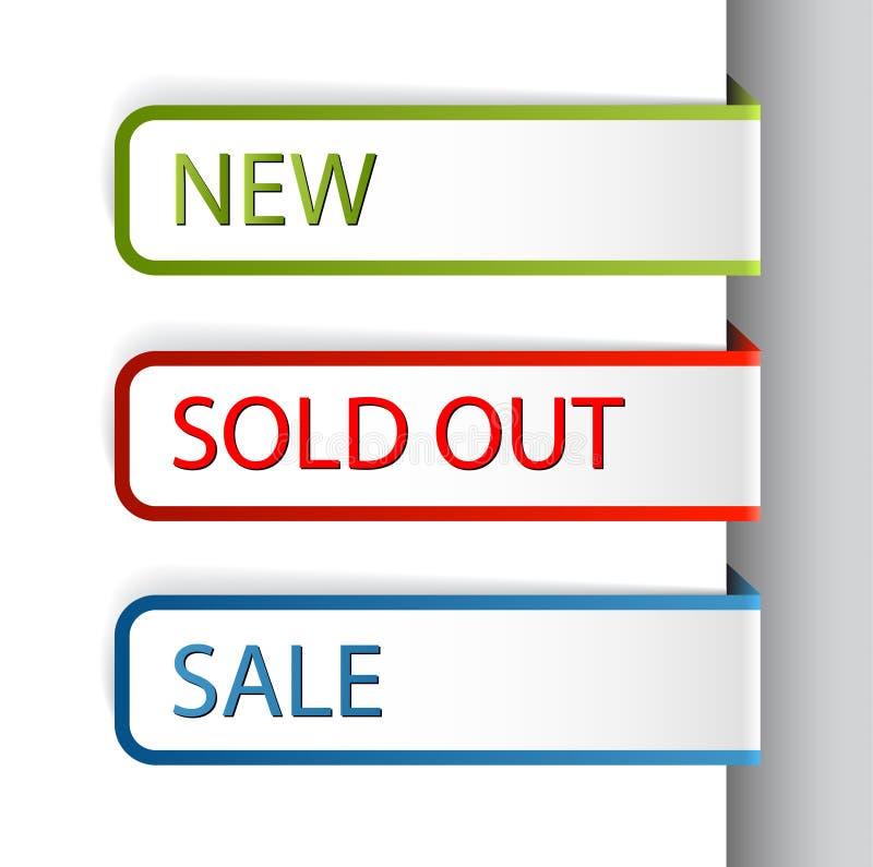 Etiquetas de papel coloridas para los items del eshop stock de ilustración