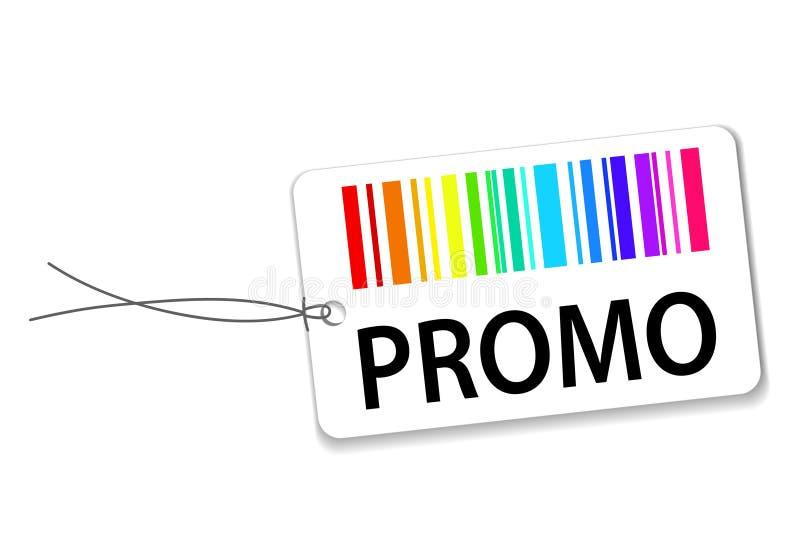 Etiquetas de papel con el código de barras y el promo en blanco con la sombra; acción VE libre illustration
