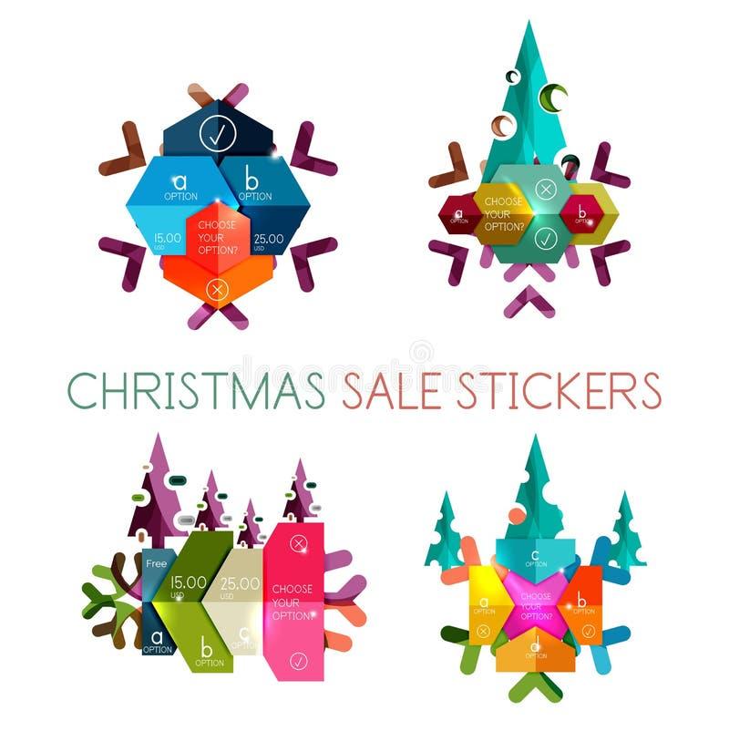 Etiquetas de papel do ano novo e do Natal, etiquetas ilustração royalty free
