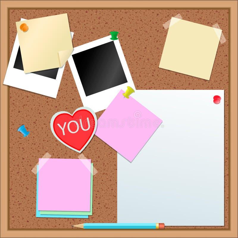 Etiquetas de papel e outros artigos na cortiça-placa ilustração do vetor