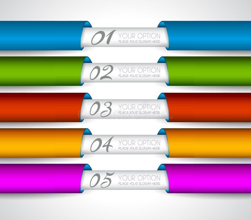 Etiquetas de papel realistas de Mordern para la clasificación de los productos stock de ilustración