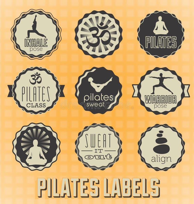 Etiquetas de Pilates do estilo do vintage ilustração stock