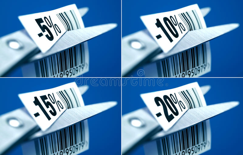 Etiquetas de preço com desconto fotografia de stock royalty free