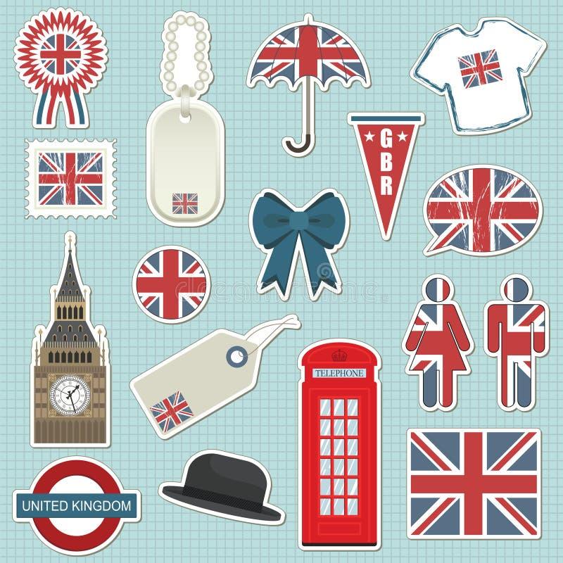 Etiquetas de Reino Unido ilustração stock