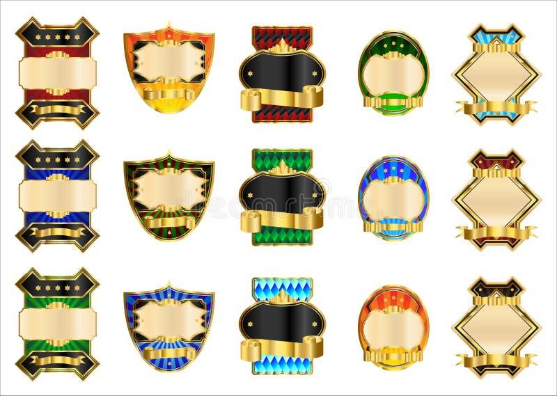 Etiquetas decorativas do ouro ilustração stock