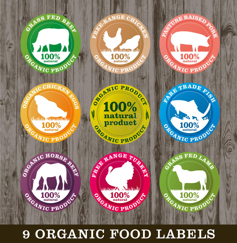 Etiquetas del alimento biológico, imagen stock de ilustración