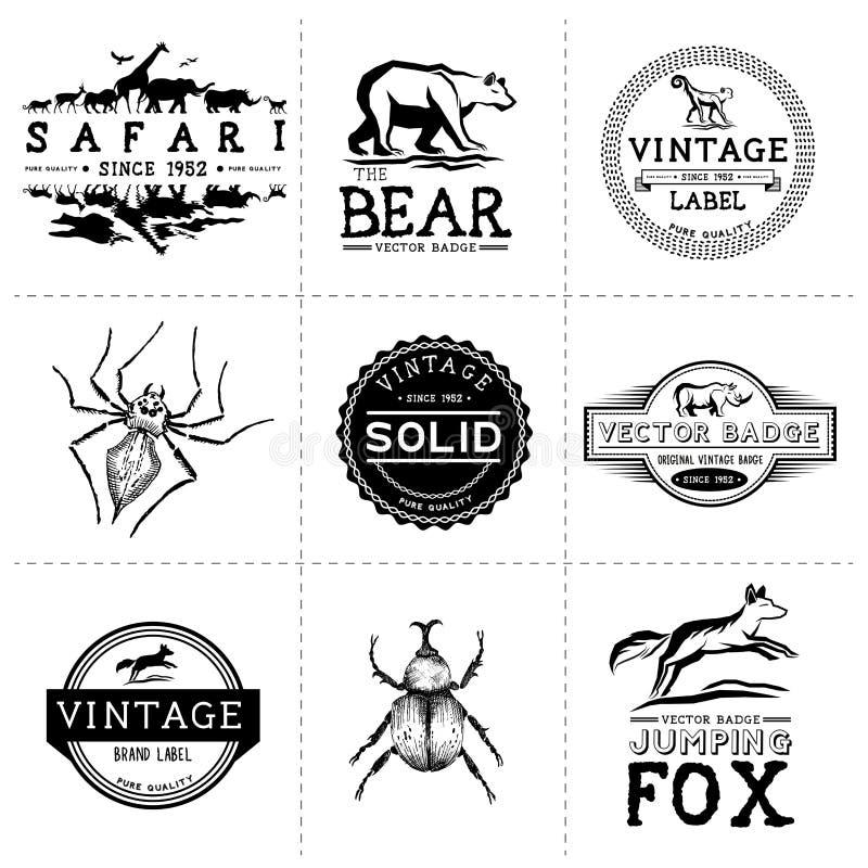Etiquetas del animal del vintage stock de ilustración