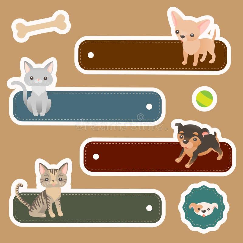 Etiquetas del animal doméstico stock de ilustración