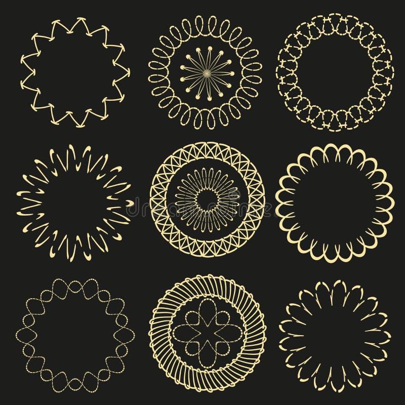 Etiquetas del art déco del círculo Marco auténtico del oro del lujo del vintage del arte del inconformista para la colección eleg ilustración del vector