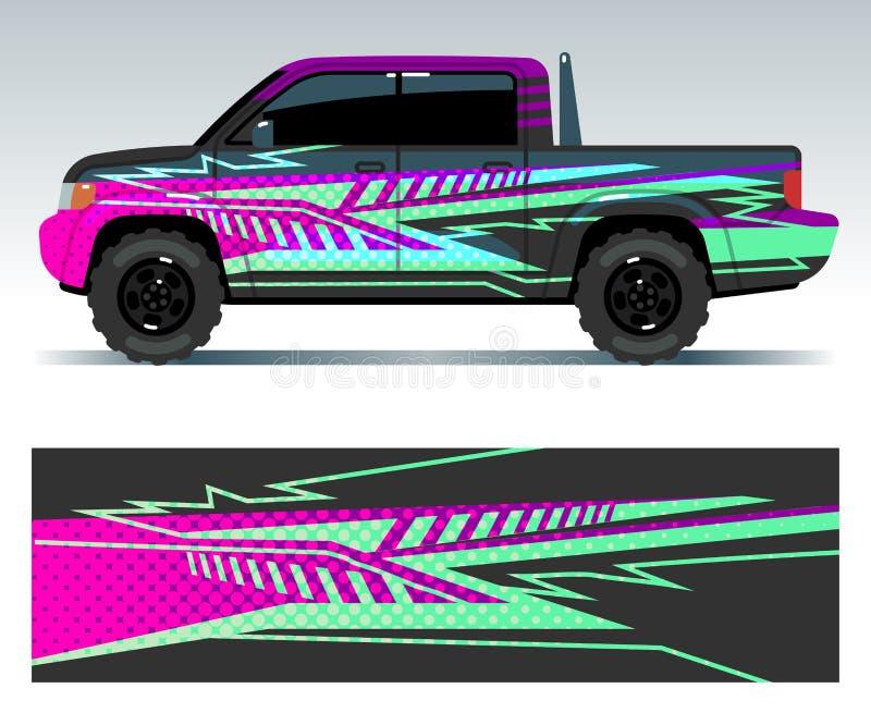 Etiquetas del coche de competición Sistema del vector de las etiquetas engomadas del vinilo del vehículo del deporte stock de ilustración
