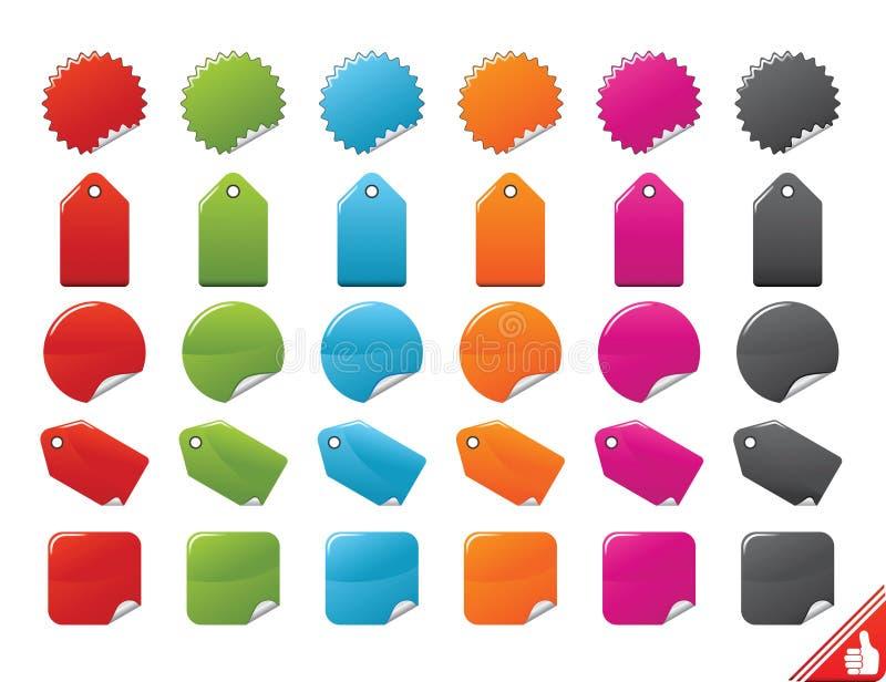 Etiquetas del color fijadas ilustración del vector