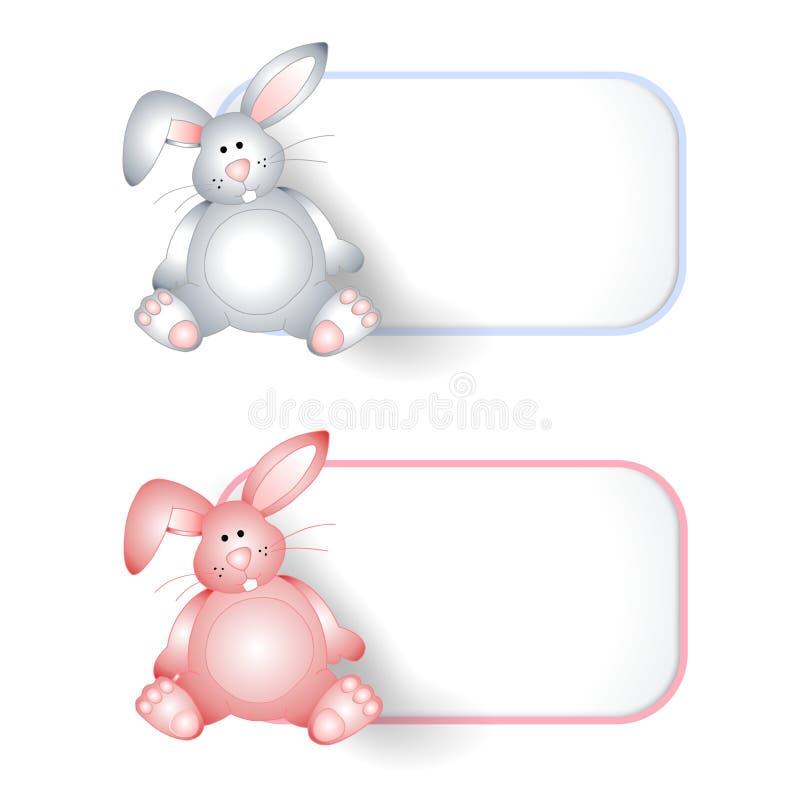 Etiquetas del conejito del bebé o escrituras de la etiqueta rosadas y azules stock de ilustración