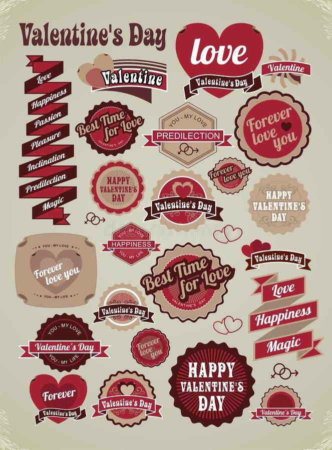 Etiquetas del día de tarjetas del día de San Valentín, etiquetas, artículos decorativos ilustración del vector