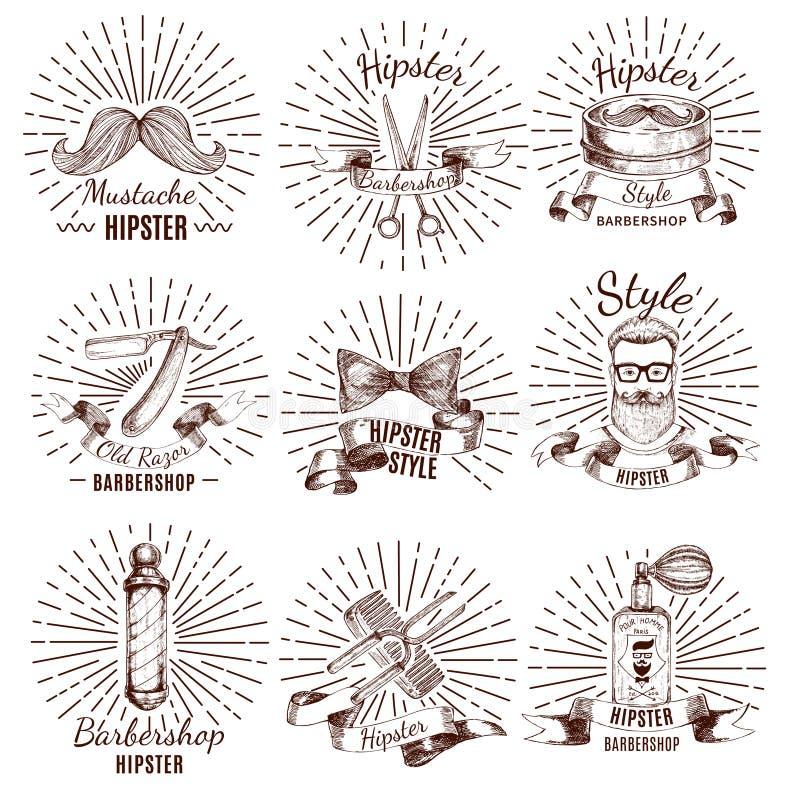 Etiquetas del estilo del inconformista de la barbería libre illustration