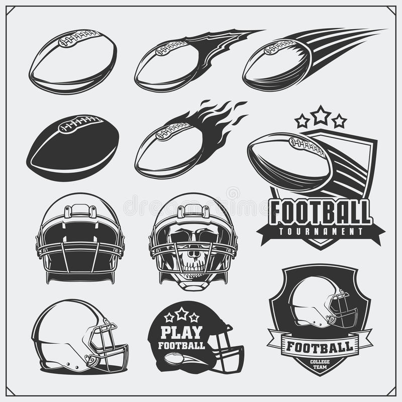 Etiquetas del fútbol del fútbol, emblemas y elementos del diseño Bolas y cascos Sistema del vector libre illustration