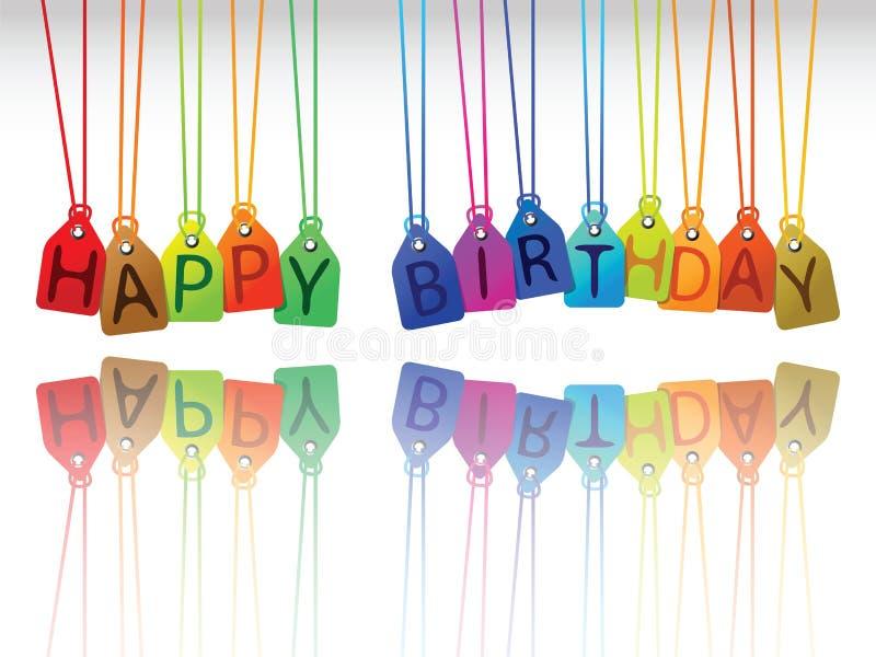 Etiquetas del feliz cumpleaños stock de ilustración