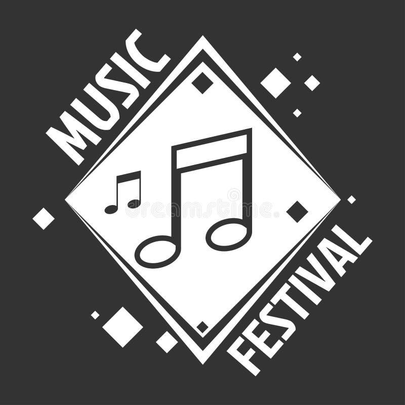 Etiquetas del festival de música de las notas musicales del vector ilustración del vector