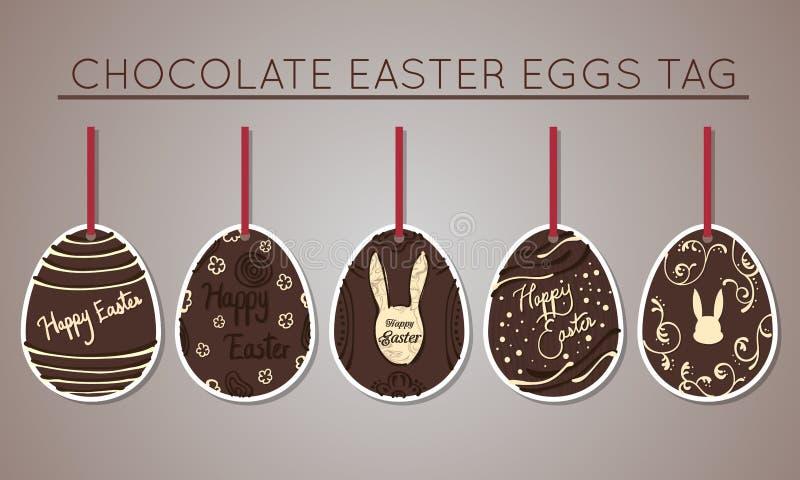 Etiquetas del huevo de Pascua del chocolate libre illustration