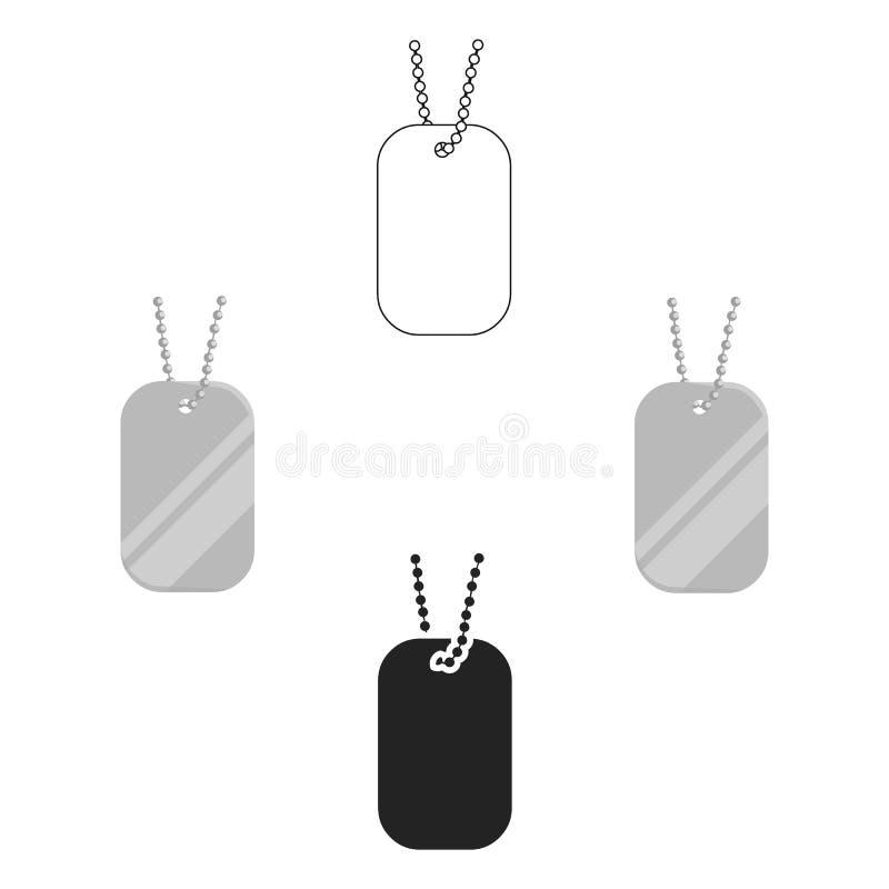 Etiquetas del metal que cuelgan en una historieta de cadena del icono, negra Solo icono de la munici?n grande, brazos del arma fi libre illustration
