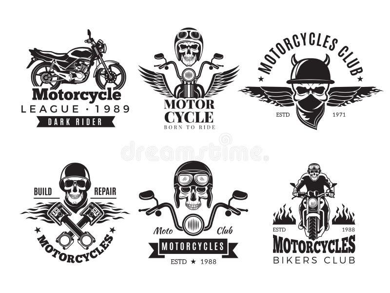 Etiquetas del motorista La motocicleta de encargo y los símbolos del vintage para las banderas de la bici del cráneo de las insig ilustración del vector