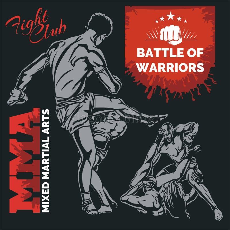 Etiquetas del Muttahida Majlis-E-Amal - diseño mezclado vector de los artes marciales stock de ilustración
