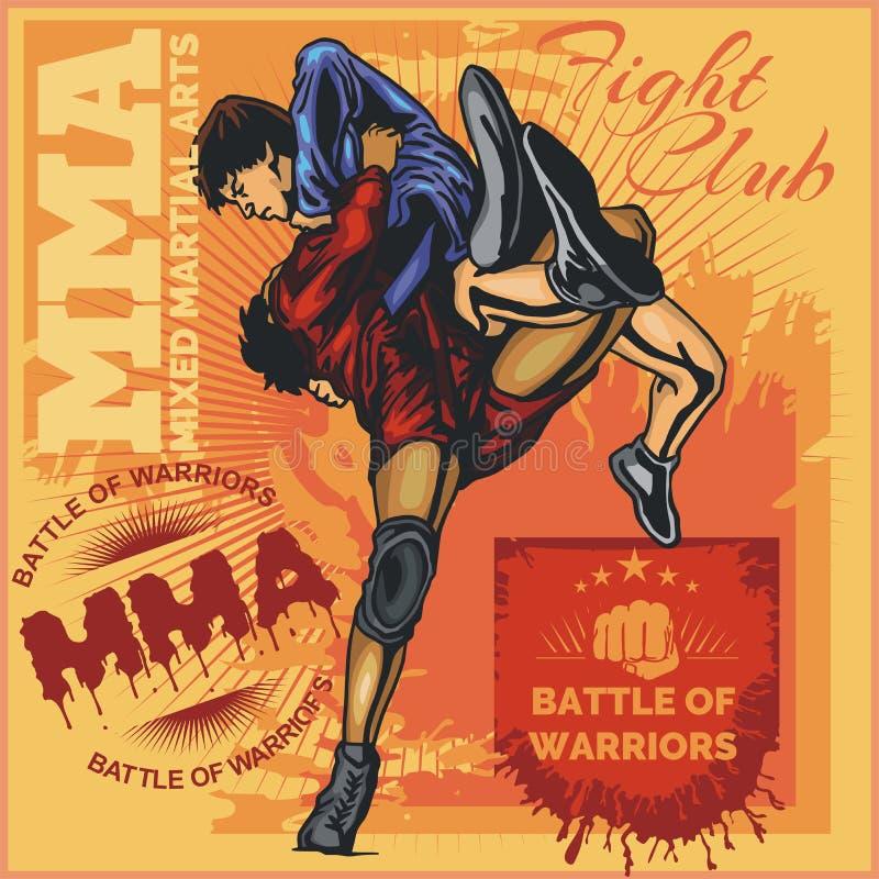 Etiquetas del Muttahida Majlis-E-Amal - diseño mezclado vector de los artes marciales ilustración del vector